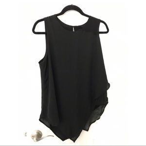 Tops - Sleeveless layered blouse in black